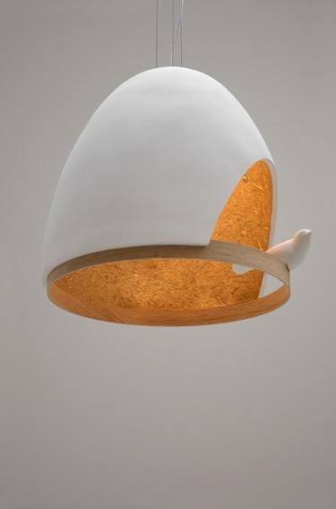 Chabaud+Bellemère, Lampe Oiseau, 2014, Edition Compagnie, plâtre et chêne