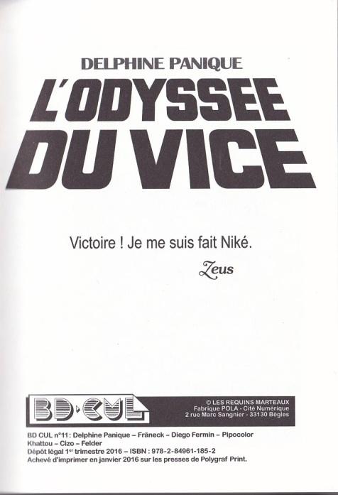 Delphine Panique Odyssée du Vice page de garde