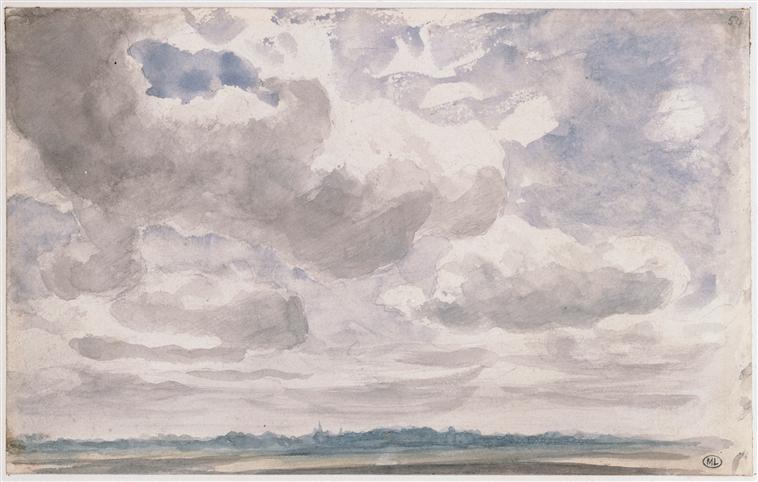 John Constable Paysage avec de gros nuages blancs et gris dans le ciel